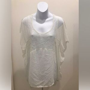 Free People White Short Sleeve Sheer Blouse
